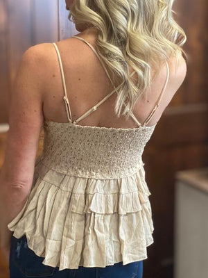 Shelby Taupe Scalloped Lace Tank Top