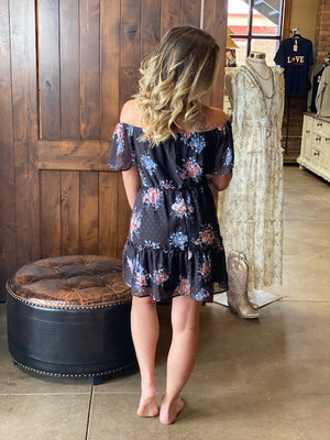 Alexis Black Floral Off the Shoulder Midi Dress