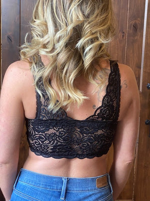 Padded Lace Bralette in Black
