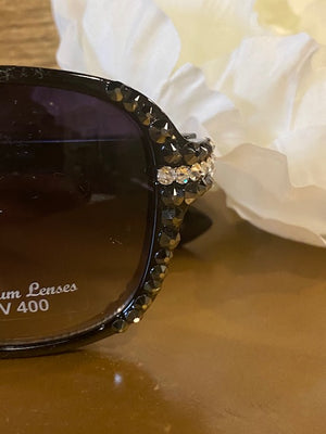 Sunglasses - Black Glamorous Sunglasses with Swarovski Crystals