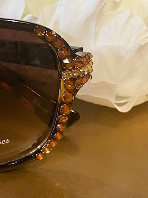 Sunglasses - Brown Glamorous Sunglasses with Swarovski Crystals
