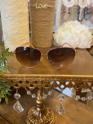 Sunglasses - Pink & Rose Gold Aviator Sunglasses with Swarovski Crystals