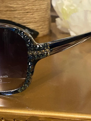 Sunglasses - Charcoal & Blue Glamorous Sunglasses with Swarovski Crystals