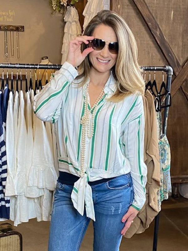 Adalee Knotted Hem Stripe Button Down Shirt