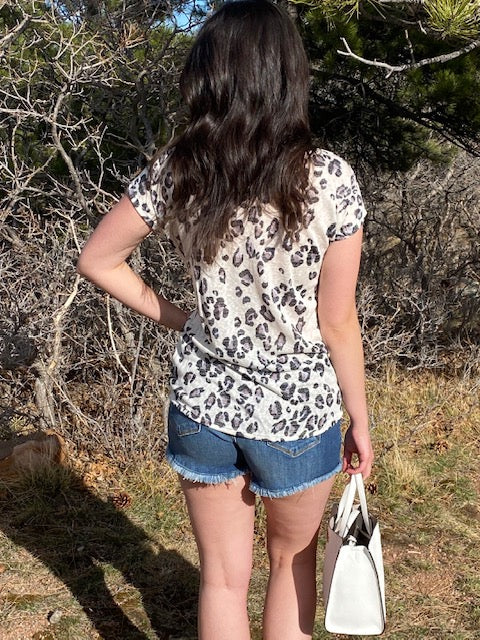 Carole Animal Print Dolman Top with Front Twist