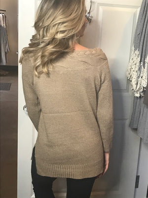 Braylin Coco Braided Off Shoulder Sweater