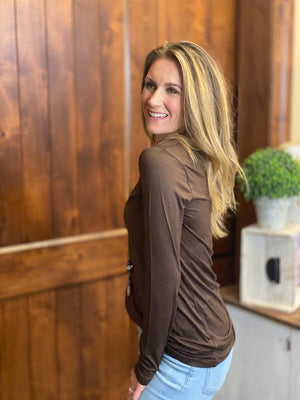 Missy Long Sleeve V-Neck Tee in Chocolate