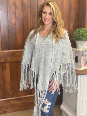 Katelyn Knit Poncho with Fringe and Tassels - Gray