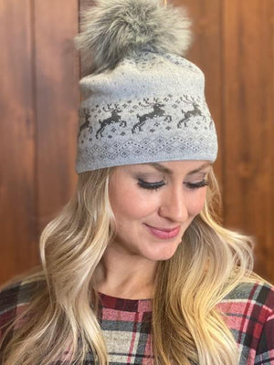 Prancer Winter Hat in Gray