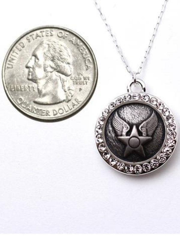 Air Force Button Necklace - Rhinestone Silver Pendant