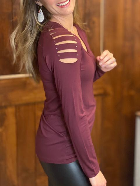 Madeline Burgundy Laser Cut Top