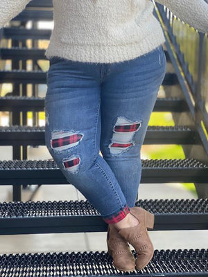 Judy Blue Buffalo Plaid Patch + Cuff Skinny Jean