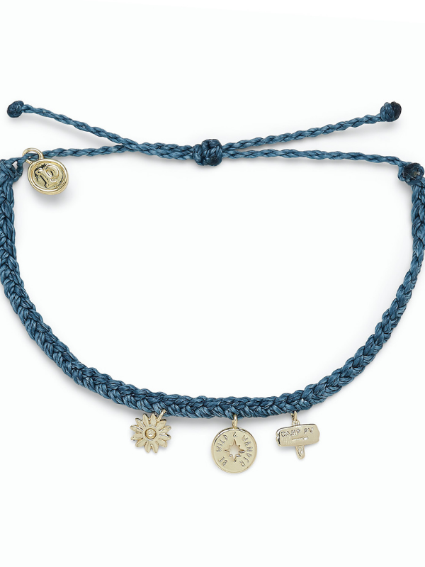 Pura Vida Charm Bracelet - Happy Camper - Dusty Blue