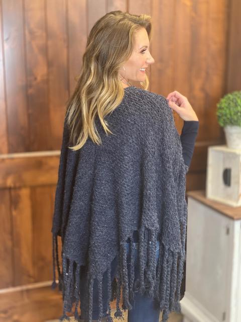 Katelyn Knit Poncho with Fringe and Tassels - Navy