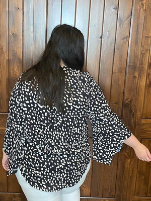 Hadley Black Cheetah Print Top