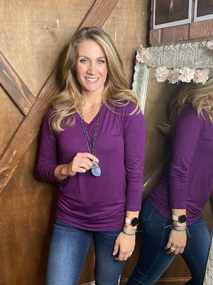 Missy Long Sleeve V-Neck Tee in Plum