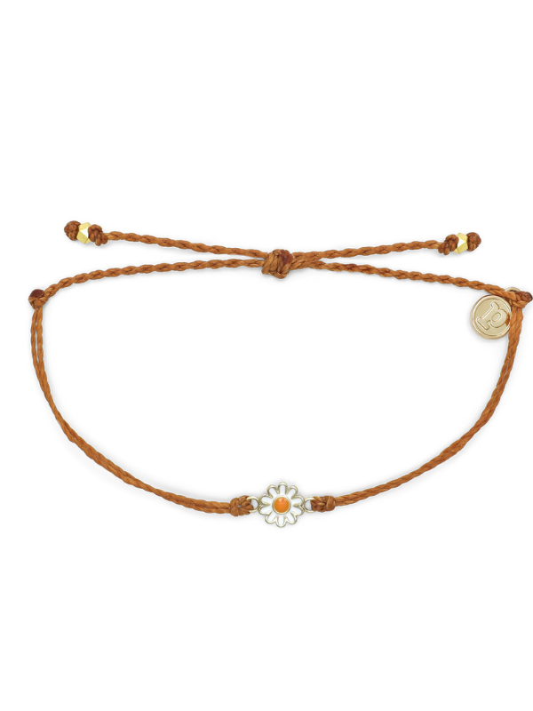 Pura Vida Charm Bracelet - Daisy - Burnt Orange