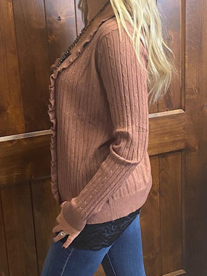 Skya Ribbed Sweater Cardigan - Rose