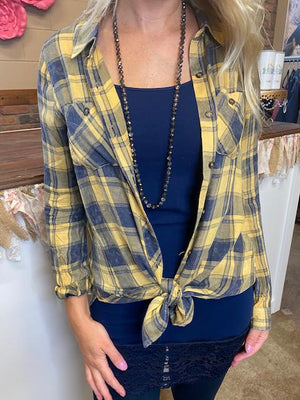 Jagger Vintage Washed Plaid Shirt in Mustard & Navy