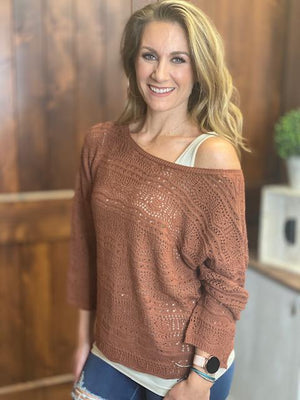 Kelsey Crochet Sweater with Tie Back and Wavy Edge - Brick