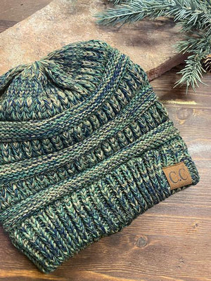 CC Four Tone Beanie - Olive and Navy