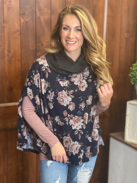 Anne Floral Sweater Poncho in Navy & Charcoal
