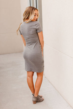 Kloee Ruched Dress - Charcoal