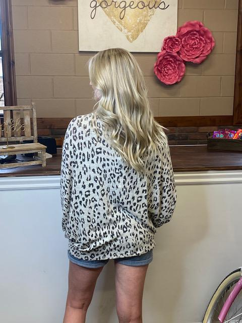 Tory Leopard Print Open Sweater Cardigan