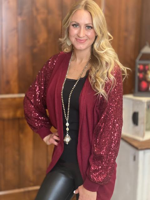 Eve Sequin Detail Sweater Cardigan in Burgundy