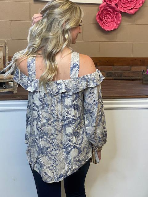 Eden Cold Shoulder Snake Print Ruffled Top
