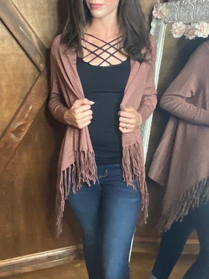Grace Long Sleeve Mauve Fringe Cardigan