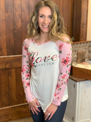 Love Forever Floral Raglan Top