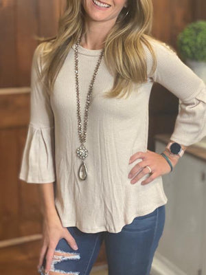 Abigail Ribbed Top with Bell Sleeves - Cream