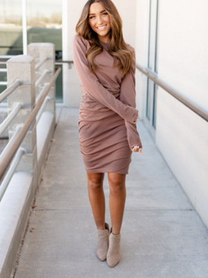 Kloee Ruched Long Sleeve Dress - Mocha