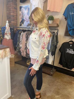 Hunter White Jacket with Eyelet and Floral Detail