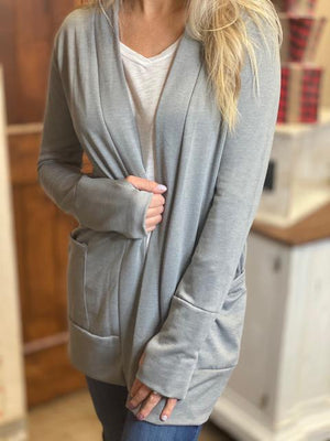 Kate Gray Sweatshirt Cardigan with Thumbholes