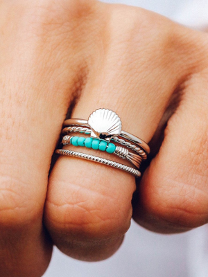 Pura Vida Ring Stack - Shell