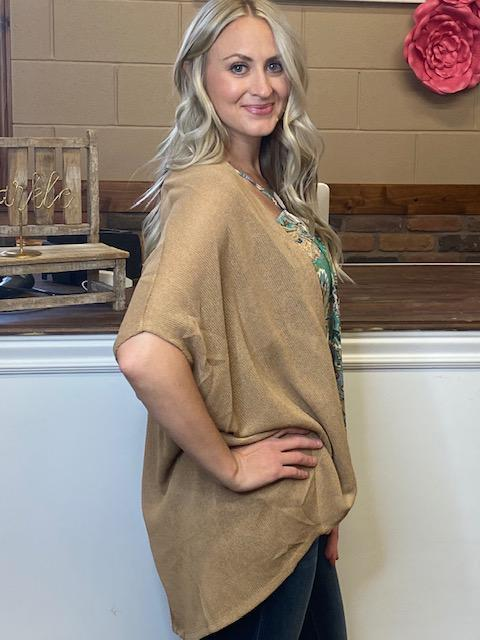 Maple Taupe Open Front Cardigan