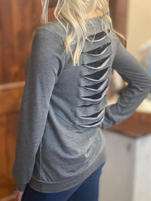 Kimber Lace Back Detailed Sweatshirt - Charcoal