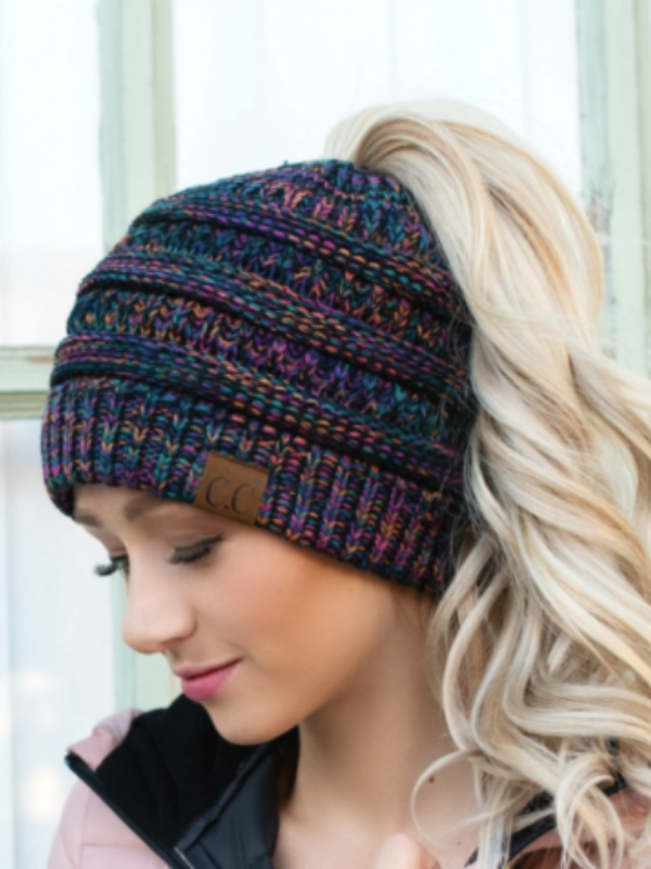 C.C. Messy Bun Beanie in Multi-colored