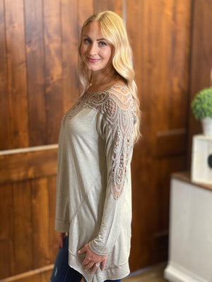 Kori Oversized Mixed Jersey Top with Crochet Detail in Cappuccino