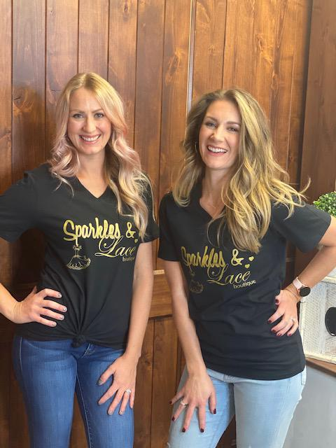 Sparkles & Lace Black and Gold Logo Tee