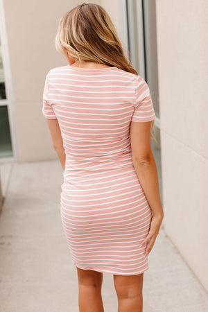 Kloee Ruched Dress - Pink Stripe