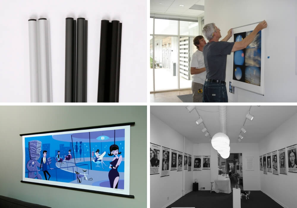 picture collage featuring posterhangers by jorgen moller in upper left corner, men installing photo exhibit in upper right corner, josh agle aka shag print on wall in lower left corner and a photo gallery installation in the lower right corner