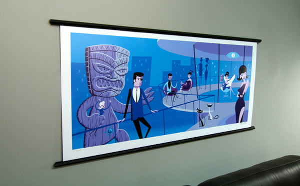 Artist Josh Agle (aka SHAG) An Extraordinary Evening print displayed on wall with a black posterhanger