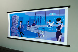 Josh Agle Shag An Extraordinary Evening Print hanging on wall with poster hanger