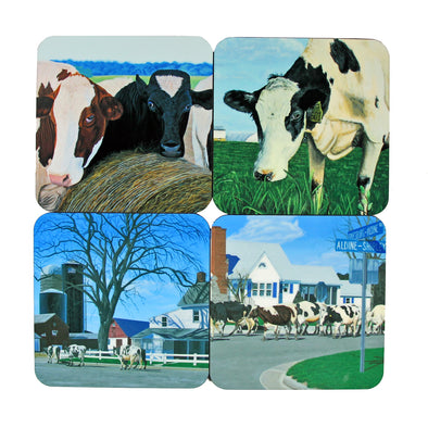 Coaster Set: Cow Paintings