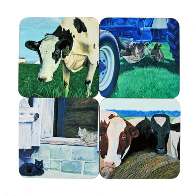Coaster Set: Farm Animal Paintings
