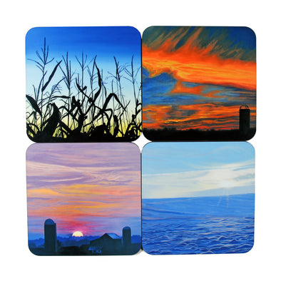 Coaster Set: Sunscape Paintings