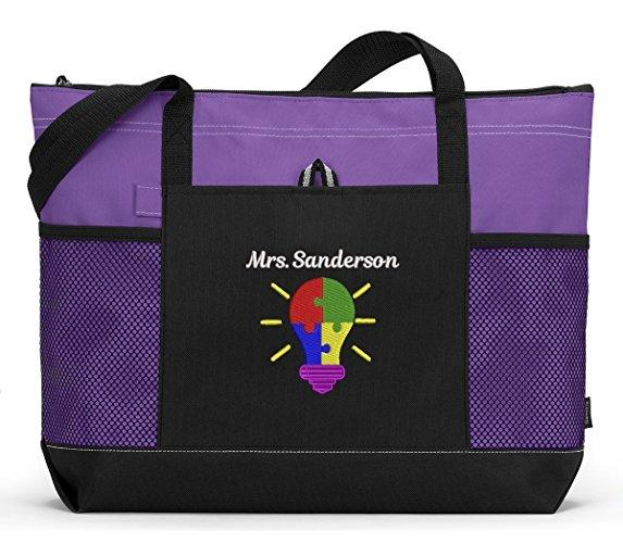 Autism Bright Ideas Personalized Embroidered Tote Bag, Zippered Closure - Simply Custom Life